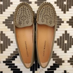 Lucky Brand Ajaia Laser Cut Olive Loafer Moccasins